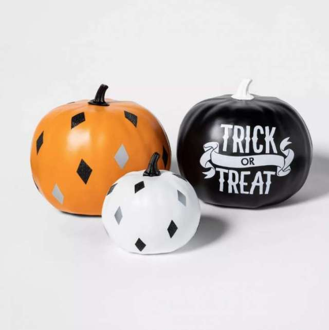 3pk Trick-or-Treat Painted Halloween Pumpkin Bundle Black/Orange/Cream