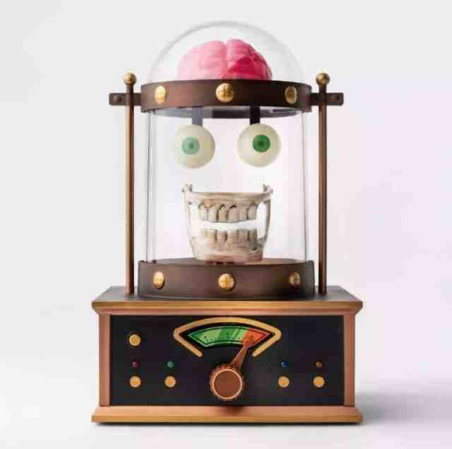 Animated Taking Skull in Cloche Halloween Décor