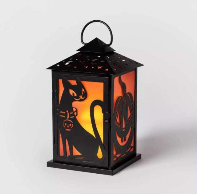 Cat/Pumpkin Silhouette Metal Lantern Halloween Decoration