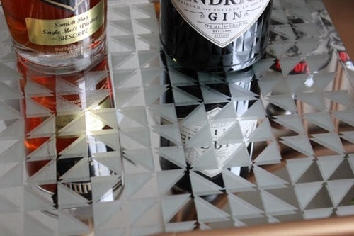 diy geometric mirror bar topper option