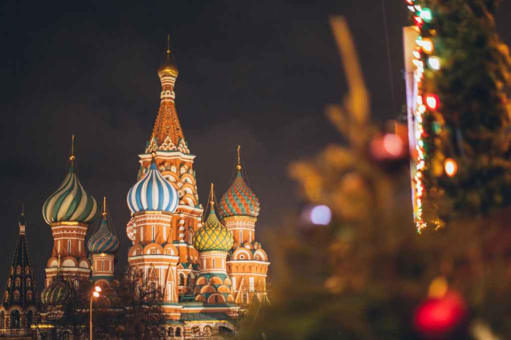 saint basil cathedral on red square at new year night