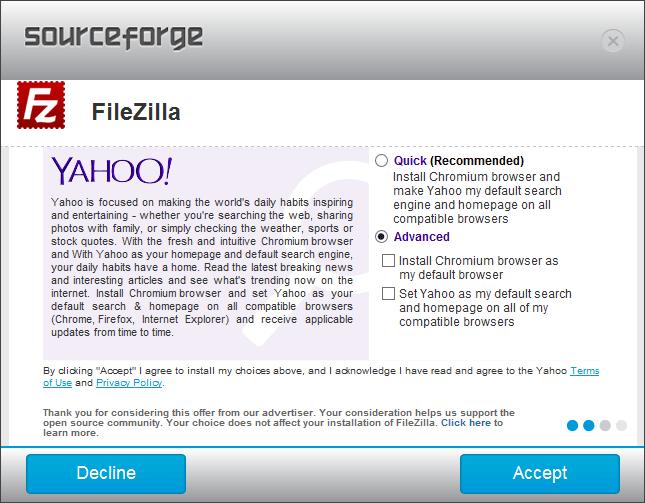 Sourceforge Filezilla Install - Optional