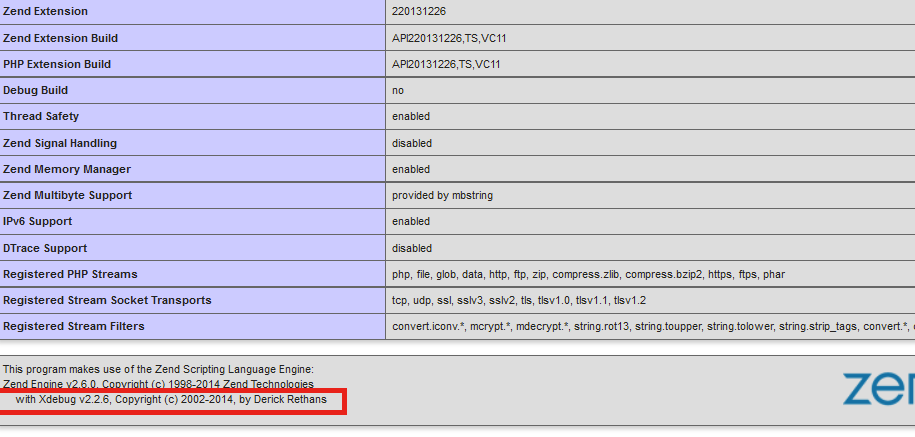 php_info() showing Xdebug installed
