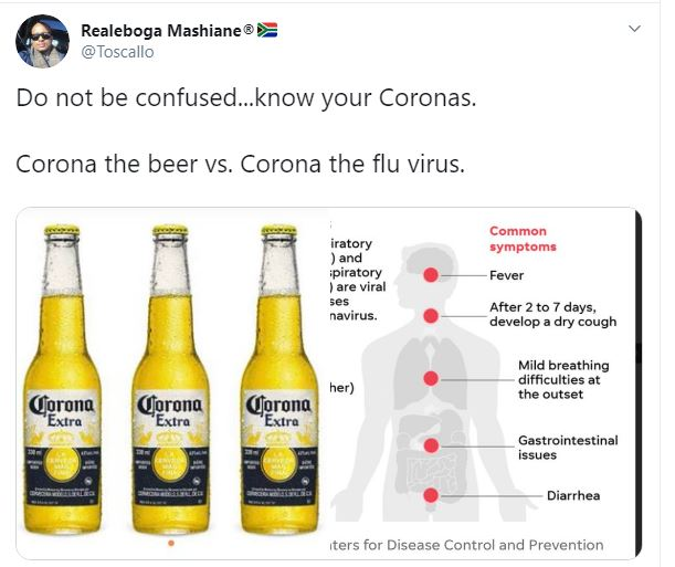 Analysis reveals some apparent confusion between coronavirus, Mexican beer Corona