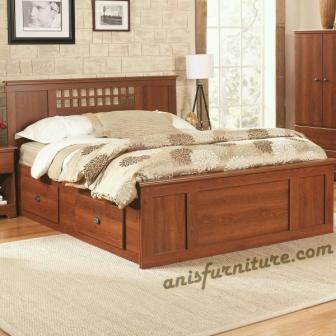ranjang kayu minimalis laci