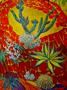 Cacti - Cartoon for a tapestry - Tomas Harris