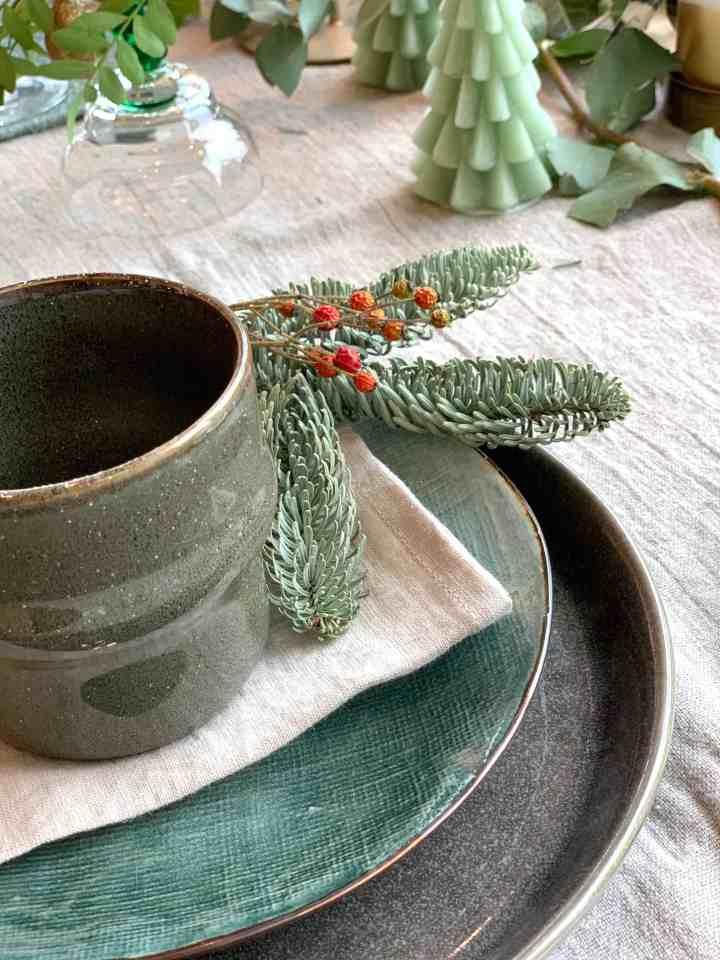 groene tafelstyling Kerst