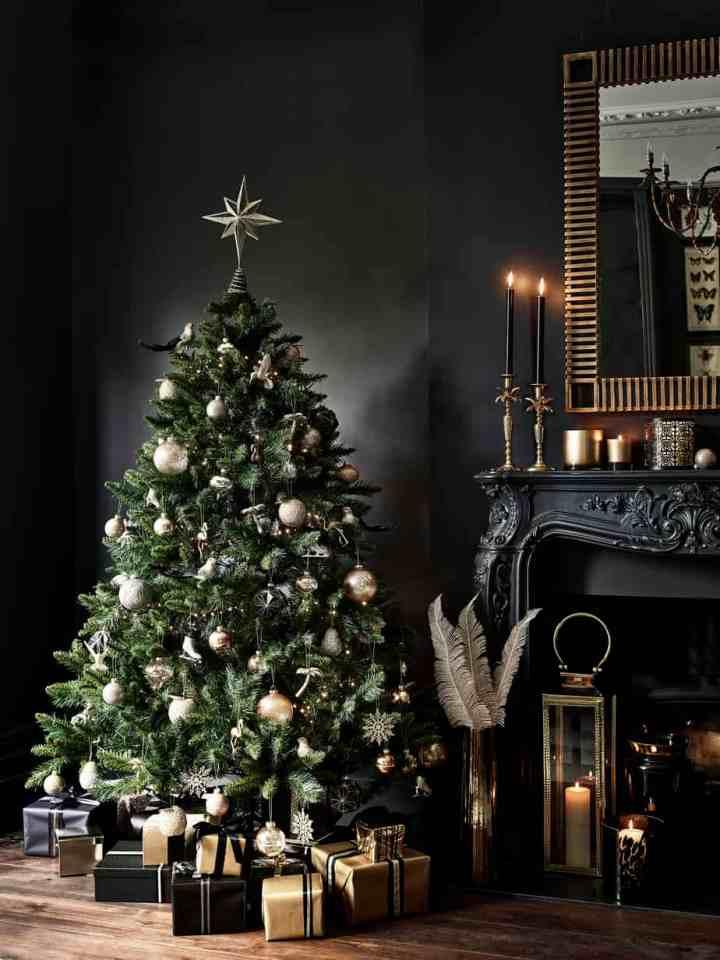 Kersthuis zwart en goud