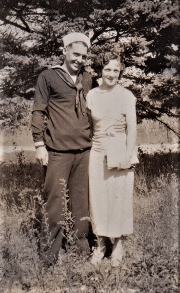 1930 at Peg's nana and gramp in sailor suit