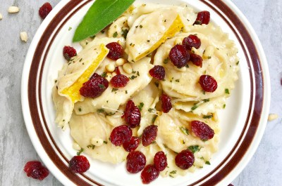butternut raviolis dried cranberries sage