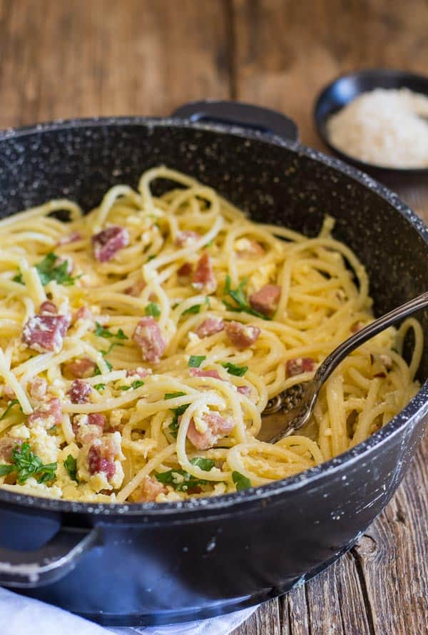Classic Carbonara Pancetta And Egg Pasta