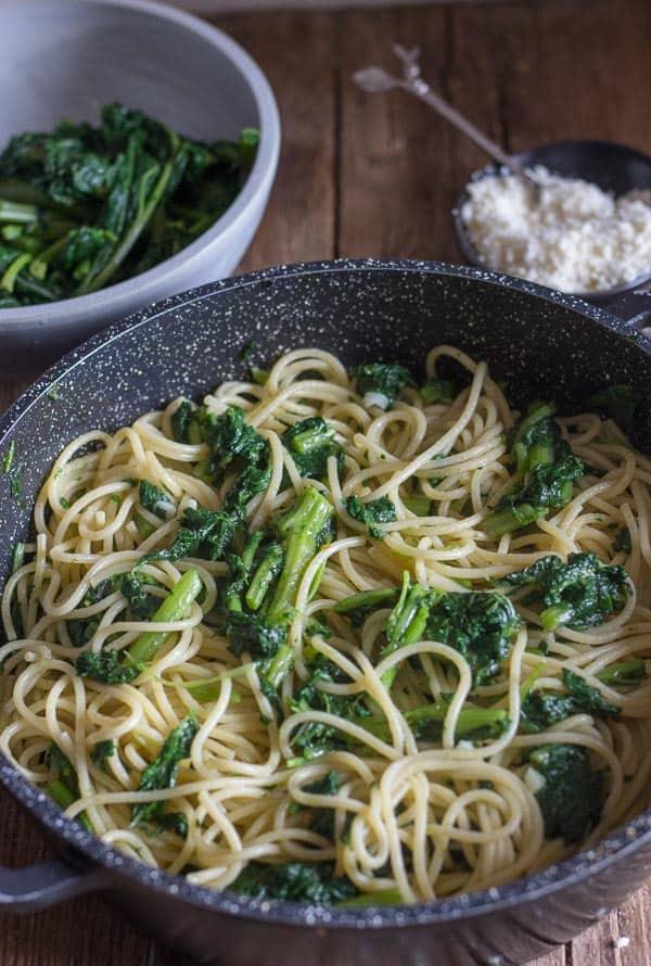 Italian broccoli rabe pasta with spaghetti in a pan