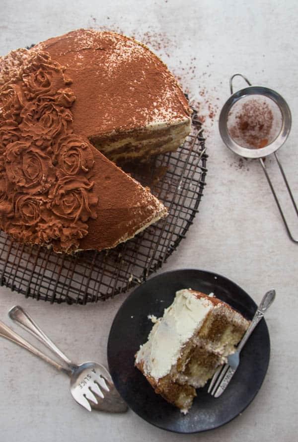 Homemade Classic Italian Tiramisu Layer Cake