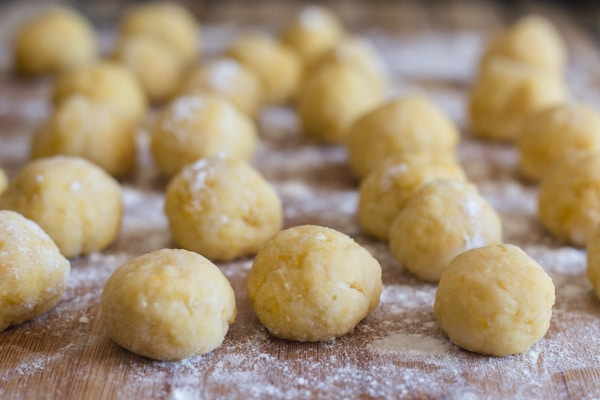 castagnole dough balls ready to be fried