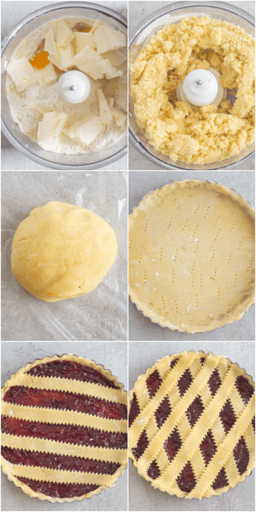 crostata how to make, making the dough, rolling the dough, in the pie plate and ready to bake