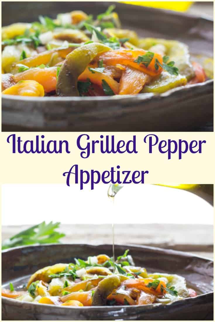 Grilled Pepper Appetizer, a combination of grilled/roasted peppers, garlic, olive oil and spices to become a delicious Italian Appetizer.