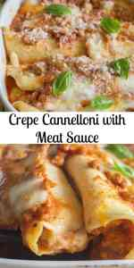 Crepe Cannelloni with Meat Sauce, homemade Cannelloni made easy and delicious. A simple savory crepe filled with a meat sauce, Mozzarella and Parmesan cheese, and baked to Perfection! #cannelloni #crepes #savorycrepes #pasta #Italianrecipe