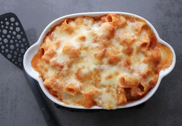 Creamy Cheesy Baked Pasta, an easy baked pasta recipe, homemade with sauce and ground beef, a cheesy family dinner casserole.  So good!