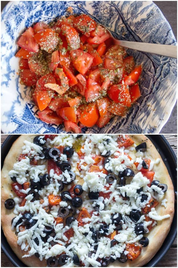 pizza how to make fresh tomato topping in a bowl and unbaked pizza with cheese