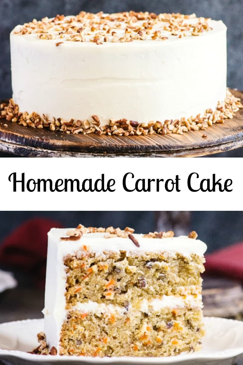 A moist and delicious Homemade Carrot Cake. A simple traditional Cake, with a creamy Cream Cheese Frosting. #carrotcake #cake #dessert #birthdaycake #creamcheesefrosting