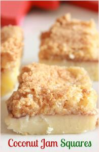 Coconut jam squares upclose photo
