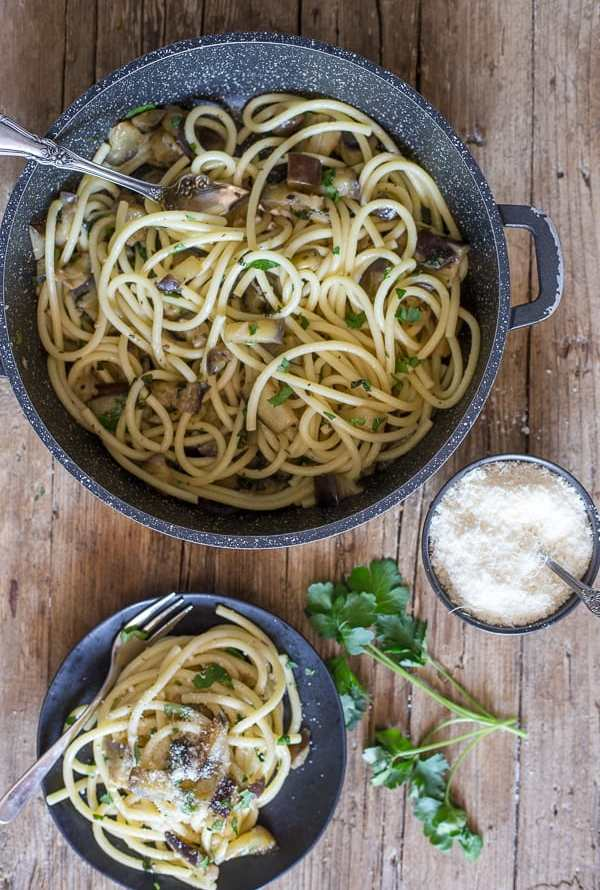 pasta and eggplant in a pan and on a plate