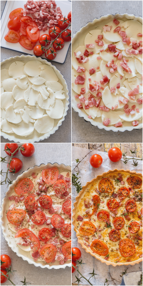 tomato pancetta savory pie how to make topped with cheese, pancetta and tomatoes and baked