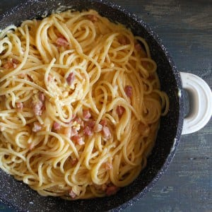 Carbonara pancetta and egg Pasta, a fast, easy and delicious authentic Italian Pasta recipe. A creamy bacon and egg Spaghetti dish.