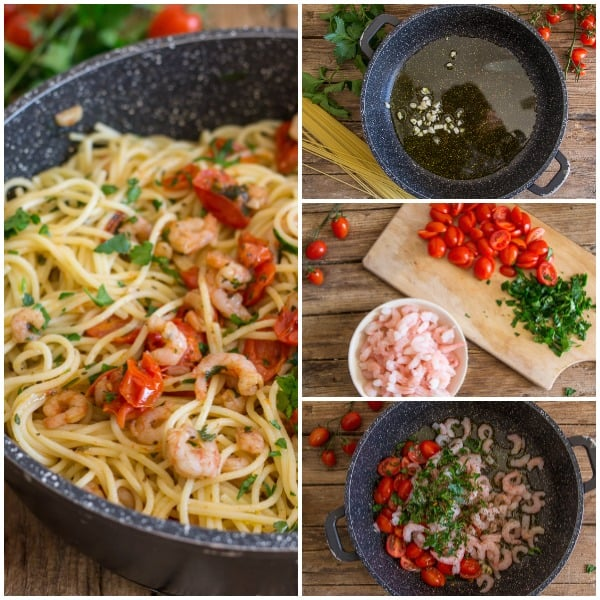 shrimp and tomato pasta how to make photos, garlic, shrimp and cut tomatoes, all in the pan before and after cooked