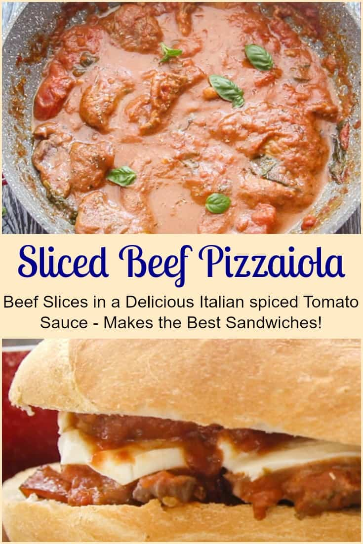 Sliced Beef Pizzaiola a fast and easy Italian Recipe, thin beef slices in a perfectly spiced tomato sauce.  Makes the best Sandwich too.