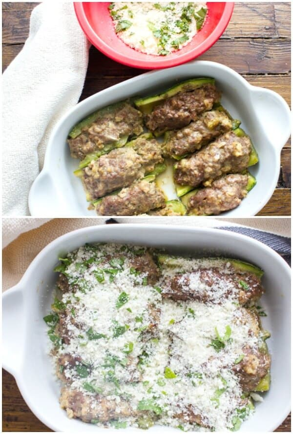 A delicious Italian Recipe made with a tasty meatball filling, Baked Zucchini Stuffed with Meat is the perfect fast and easy meal. We love it.