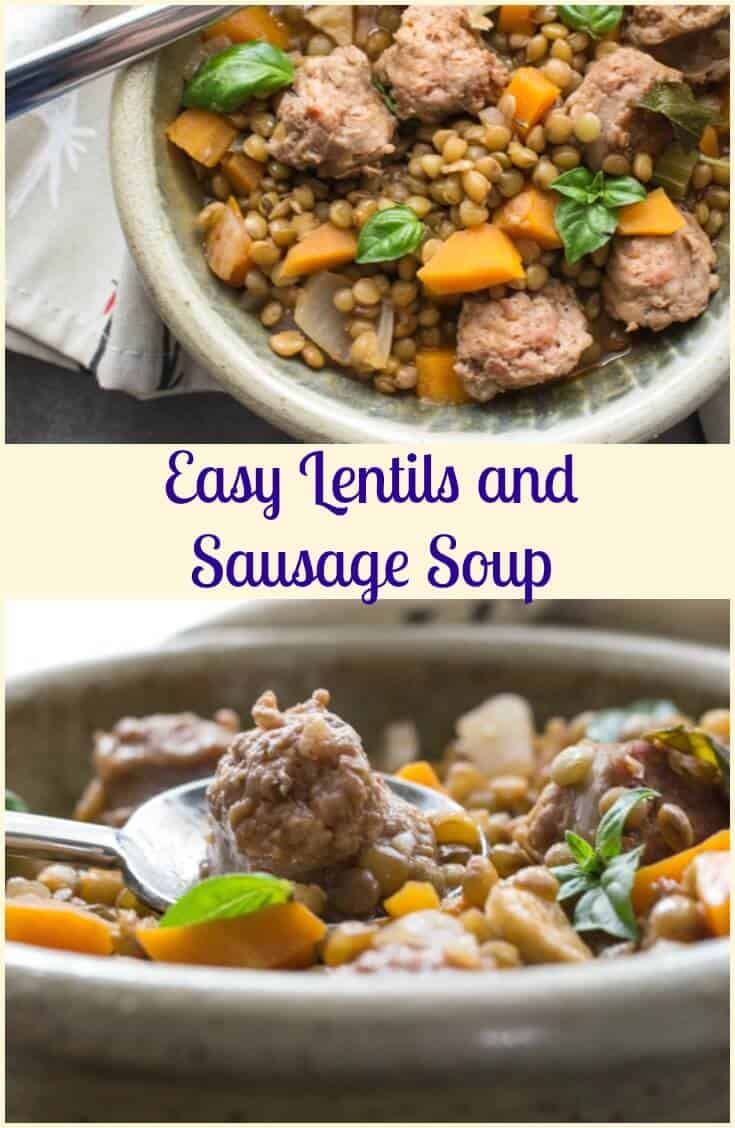 Easy Lentils and Sausage Soup is the perfect Healthy, Hearty Fall Soup.  Full of Fresh Veggies, Italian Sausage, Lentils and Spices.
