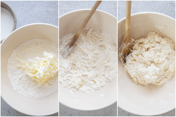 simple biscuits how to make grated butter, stirring in the buttermilk