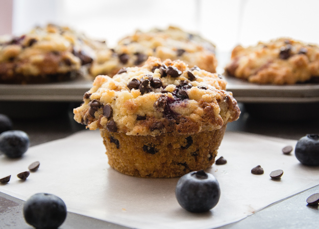 Streusel Topped Blueberry Chocolate Chip Muffins