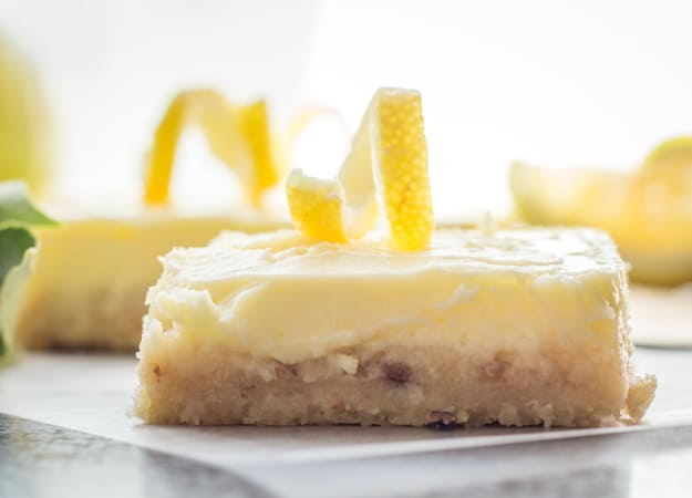 close up of a lemon cheesecake square