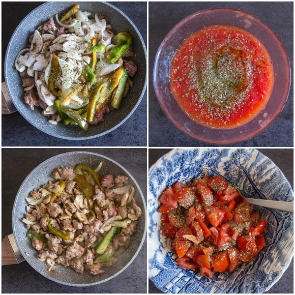 toppings for best pizza dough, stir fried veggies, fresh tomatoes and tomato sauce