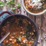 bean soup in a pot and a bowl