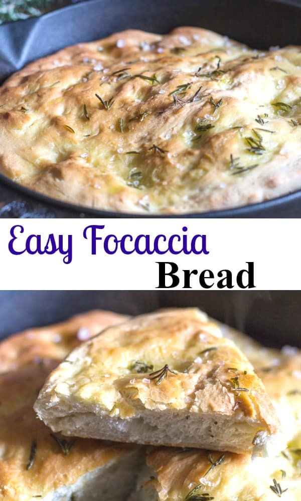 Easy Focaccia Bread, a delicious alternative to bread, a pizza type dough topped with olive oil, salt and fresh rosemary then baked to perfection.  #focaccia #bread Italianrecipe #pizza