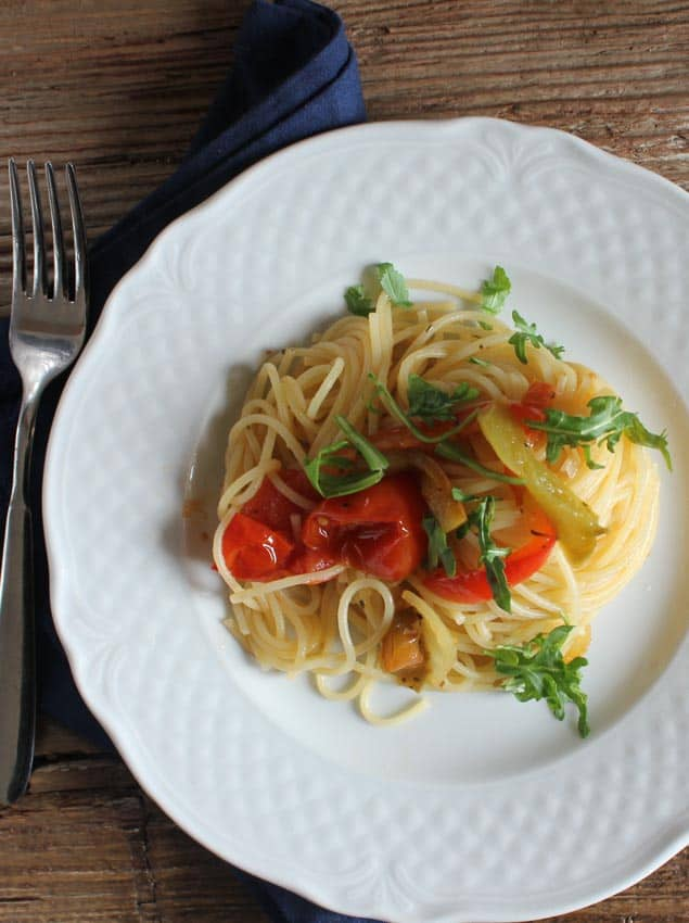 sauteed vegetables and spaghetti /anitalianinmykitchen.com