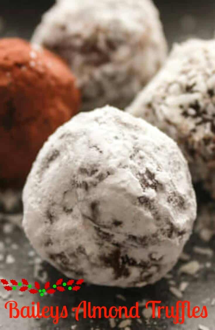 Baileys Almond Truffles, Christmas time and time for a delicious and creamy truffle, the best you will ever taste and only 4 ingredients. A yummy snack or dessert treat.
