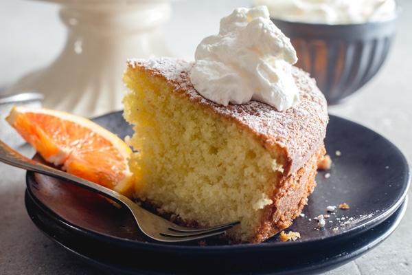 up close slice of coconut orange cake