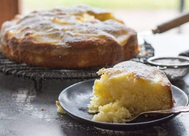 Easy Italian Pear Cake, a delicious moist Italian cake made with fresh pears and mascarpone. A perfect breakfast, snack or anytime cake recipe.