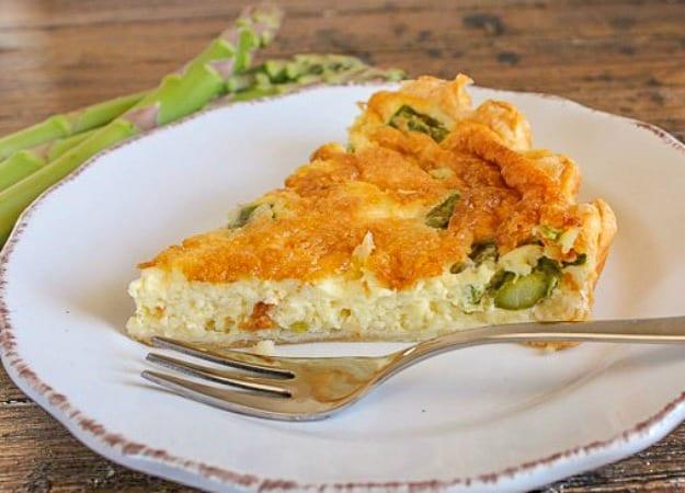 asparagus quiche on a white plate