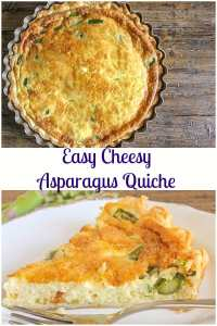 Easy Cheesy Asparagus Quiche is a delicious tasty Spring time recipe, perfect for lunch, dinner and even brunch, serve with a salad and Dinner is served.#asparagus #quiche #homemade #brunch #lunch #dinner