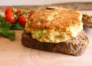 Tuna Burgers on a slice of bread