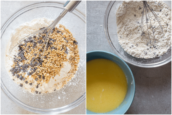 how to make chocolate chip bread dry ingredients in a bowl and wet ingredients in a blue bowl