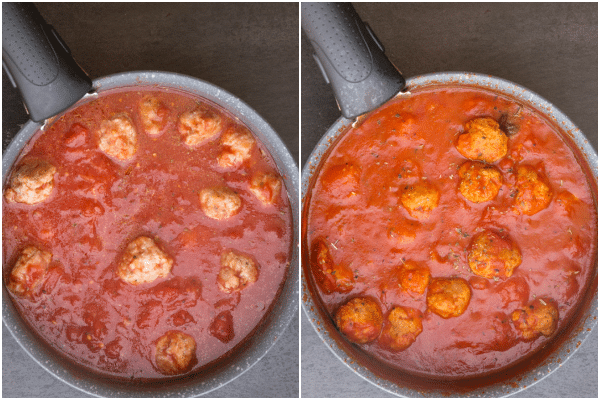 cooking the sauce and meatballs until thick