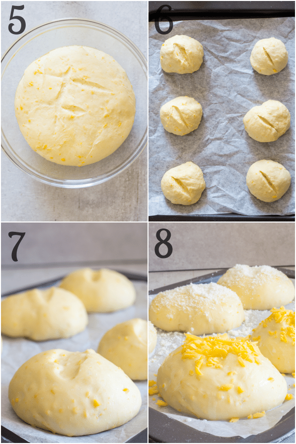how to make cheese buns dough rising and forming buns topped with cheese