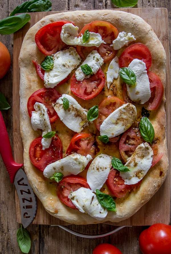 Easy Caprese No Yeast Pizza Dough
