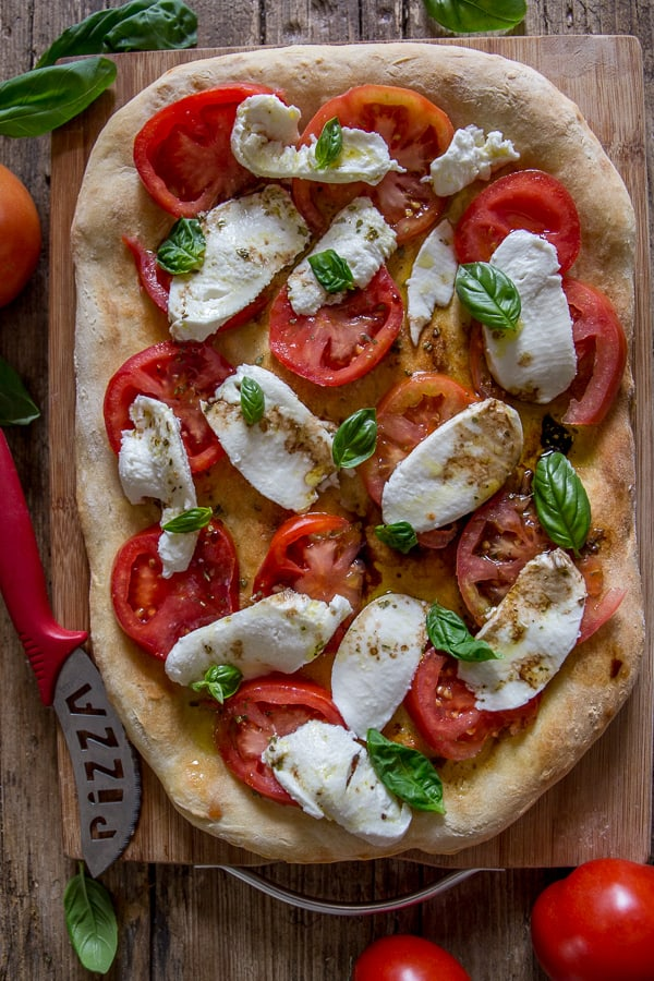 easy caprese no yeast pizza dough a perfect fresh ingredient pizza